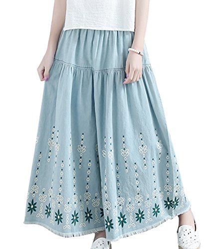 YESNO P24 Women Casual Loose Cropped Floral Denim Pants Skirts 100% Cotton Gathered Fringed Hem Wide Leg Low Crotch