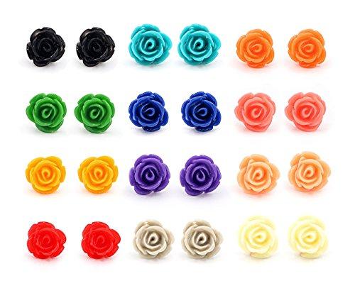 (Hanloud Assorted Rose Stud Earring Handcrafted Resin Rose Set Rainbow Color Earrings)