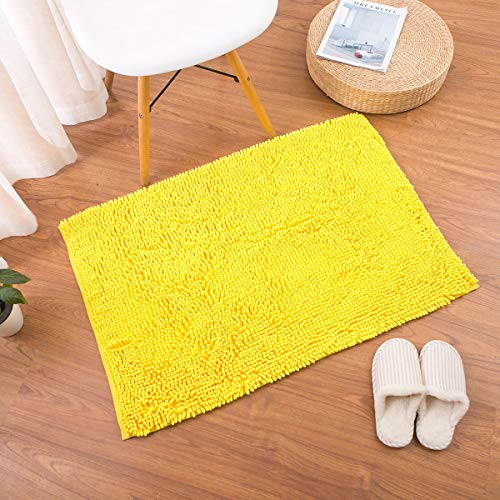famibay Chenille Microfiber Bathroom Mats Soft Shaggy Bath Mat Non Skid Washable Bath Rugs Non Slip Bathroom Area Rug Water Absorbent Carpet with Adhesive Back Yellow, 23.6x35.4 Inches
