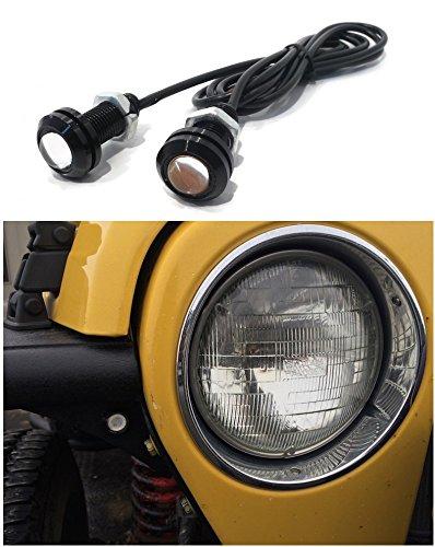 Jeep Wrangler Amber LED Front Turn Signal Lights for Tube / Flat Fenders - JK TJ YJ CJ Rubicon Sahara Jeep Yj Tube