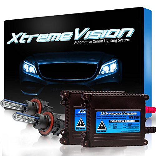 Blue Xenon Hid Headlights Lights - XtremeVision 35W HID Xenon Conversion Kit with Premium Slim Ballast - Bi-Xenon H13/9008 6000K - Light Blue - 2 Year Warranty