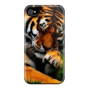 Iphone 4/4s Tiger Hd Print High Quality Tpu Gel Frame Case Cover
