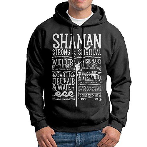 World Of Warcraft Shaman Medieval Mens Fleece Pullover Hooded Sweatshirt Black