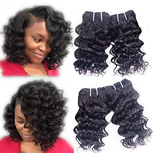 Deep Wave Hair Weave - Brazilian Human Hair Weave Deep Wave 4 Bundles Short Wavy Extensions Remy Virgin Deep Curly Unprocessed 8A Grade Natural Black Color 8 Inch 50g One Bundle Total 200g