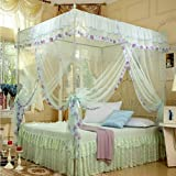 Water Green Four Corner Square Princess Bed Canopy Mosquito Netting (Twin)