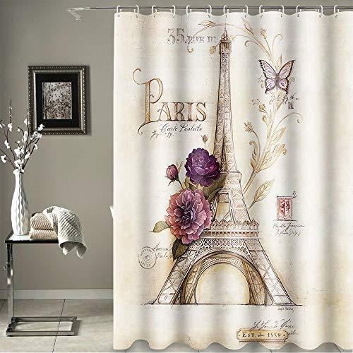 Uphome Paris Fabric Shower Curtain, Heavy Duty Cream Eiffel Tower Bathroom Shower Curtain with Bluish Flowers for Bathtubs Showers, Vintage Paris Bathroom Decor, (72 W x 72 H)