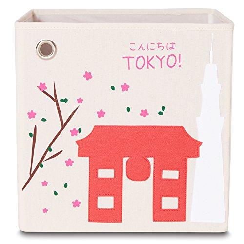 kaikai & ash Toy Storage Bins, Foldable Canvas Cube Box for Kids, 13 inch - Tokyo