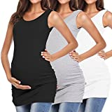MissTalk Women's Maternity Shirts Basic Tank Tops Side Ruched Mama Tee Cami Pregnancy Clothes