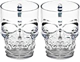 Circleware 76980 Skull Face Beer Mug Drinking Glasses with Handle, Set of 2, Heavy Base Funny Entertainment Glassware for Water, Juice and Halloween Decorations Beverage Gifts, 18 oz.
