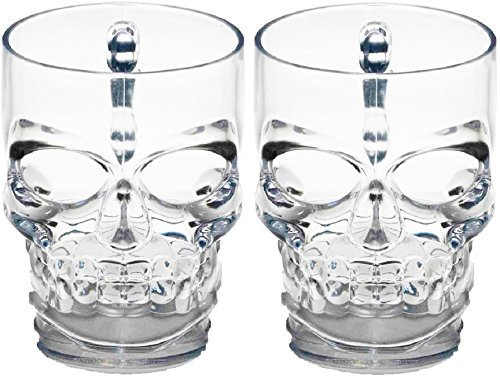 (Circleware 76980 Skull Face Beer Mug Drinking Glasses with Handle, Set of 2, Heavy Base Funny Entertainment Glassware for Water, Juice and Halloween Decorations Beverage Gifts, 17.6 oz.)