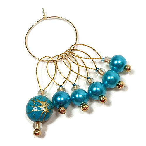 (Handmade Beaded Stitch Markers for Knitting Turquoise)