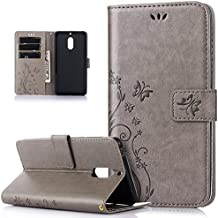 Nokia 6 Case,Nokia 6 Cover,ikasus Embossing Butterfly Flower Pattern PU Leather Fold Flip Wallet Case Cover with Card Slots Stand Protective TPU Inner Case Cover for Nokia 6,Gray