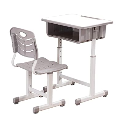JJJ Adjustable Students Children Desk and Chairs Set White: Toys & Games