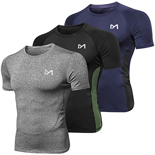 - Men's Compression Short Sleeve T-Shirt, Cool Dry Sport Workout Baselayer Top, Athletic Underwear Running Cycling Basketball (3 Pack, Large)