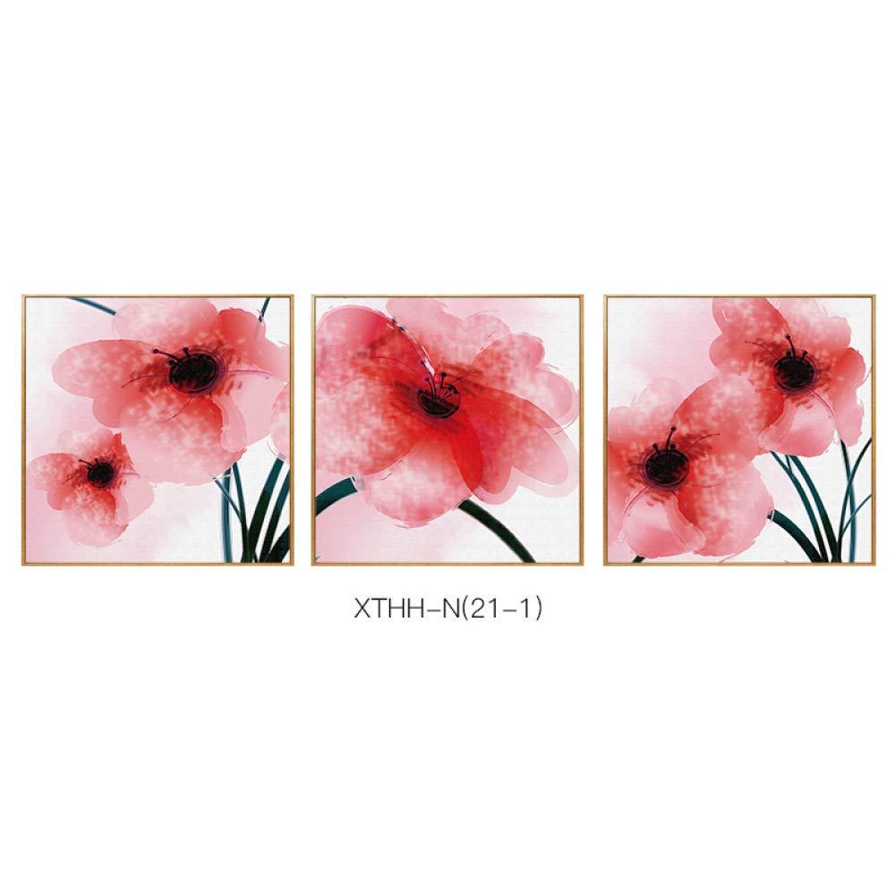 CWJ Flores de Plantas y Elegantes Pinturas de Frescos dormitorios de Arte, pasillos y Sala de Estar Creativa con decoración de Marco Pintura de Tres Piezas,B,80  80