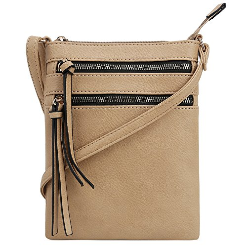 DELUXITY | Crossbody Purse Bag | Functional Multi Pocket Double Zipper Purse | Adjustable Strap | Medium Size Purse | ()