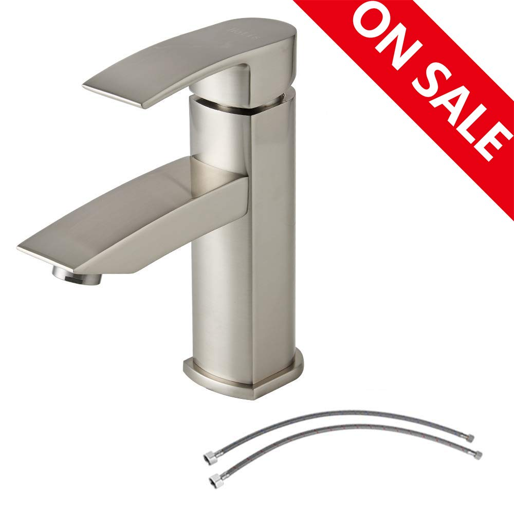 Hotis Commercial Single Handle Stainless Steel Vanity Bathroom Faucet, Lavatory Sink Faucet Brushed Nickel Finish