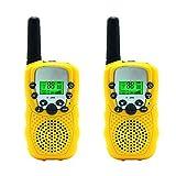Aphse Kids Walkie Talkie Two Ways Radio Toy T-388 Walkie Talkie for Kids 3 Miles Range 22 Channels FRS GMRS Handheld Mini Walkie Talkies for Outdoor Adventures Camping Hiking Set of 2 (Yellow)