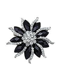 Blossom Flower Rhinestone Brooch Pin Black Crystal Collar Pin Scarves Shawl Clip for Women Lady