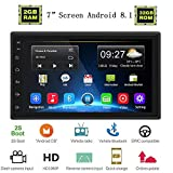 """Liehuzhekeji Android 2G+32G Car Double Din Radio Receiver, 7"""" HD 2.5D Screen Car Stereo Receiver, Support Mirror Link Bluetooth WiFi/Offline Map GPS Navigation+4LED Lights Camera"""