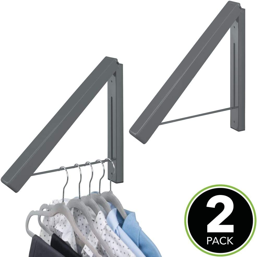 mDesign Dry Cleaning Hanger /— Wall Mounted Clothes Hanger Ideal for Hanging up Dry Cleaning /— Small Clothes Rail Made from Durable Metal /— Dark Grey