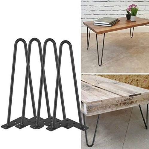 8 inch EBTOOLS Lot de 4 Pieds de Table Epingle Deux Tiges en Fer Pieds Robustes pour DIY Tables Chaises Meuble Noir 4 Tailles aux Choix