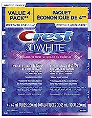 Crest 3DWhite Radiant Mint Toothpaste 4x65ml Quad Pack