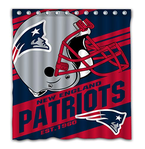 Potteroy New England Patriots Team Stripe Design Shower Curtain Waterproof Polyester Fabric 66x72 Inches