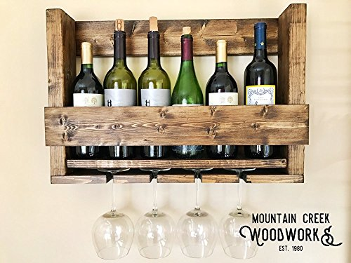 Mountain Creek Woodworks Rustic Georgia White Pine Wine Bottle Shelf & Glass Rack by by Mountain Creek Woodworks