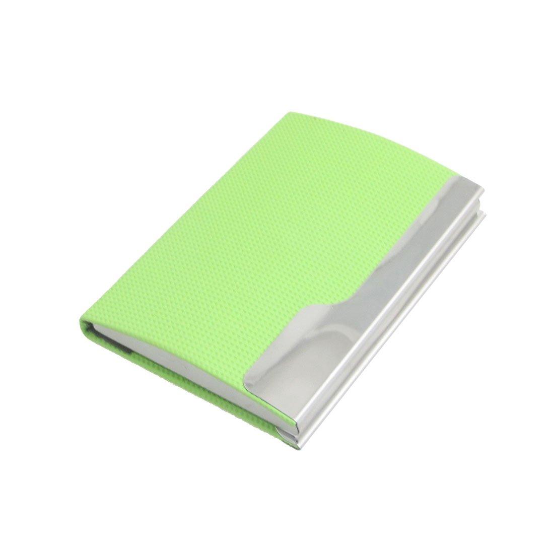 Kunstleder Checker Muster Visitenkartenhalter Lemon Green SourcingMap a12061300ux0033