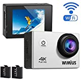 WiMiUS 4K Wifi Sports Action Camera Full HD 1080P 60fps 16MP 2.0 inch Waterproof Video Camera Car Helmet Camcorder with 2pcs Batteries(Q1) (Silver)