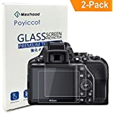 Nikon D3400 D3200 D3300 LCD Tempered Glass Screen Protector, Poyiccot Optical 9H Hardness 0.3mm Thin Tempered Glass for Nikon D3200 D3300 D3400 (2 Pack)
