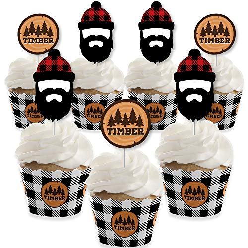 Lumberjack - Channel The Flannel - Cupcake Decoration - Buffalo Plaid Party Cupcake Wrappers and Treat Picks Kit - Set of -