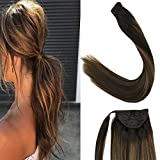 LaaVoo 12' Short One Piece Clip in Balayage Ponytail Human Hair Extensions in Darkest Brown Fading...