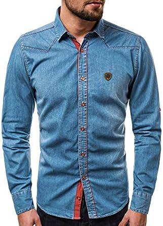 OZONEE Hombre Camisa de Manga Larga Camisa Camisa de Ocio Vaqueros Camisa Vaquera Camisa de Hombre de Manga Larga Camisa de Traje Regional Hombre Zaz / 1328: Amazon.es: Ropa y accesorios