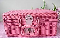 AIURLIFE Girls pink Wicker weave suitcase picnic hamper , 12 inch 302114cm
