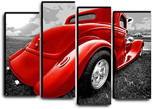 Big 4 Piece Hot Rod Wall Art Decor Picture Painting Poster Print on 4 Canvas Panels Pieces - Vintage Car Theme Wall Decoration Set - Classic Car Wall Picture for Showroom Office 32 by 44 in