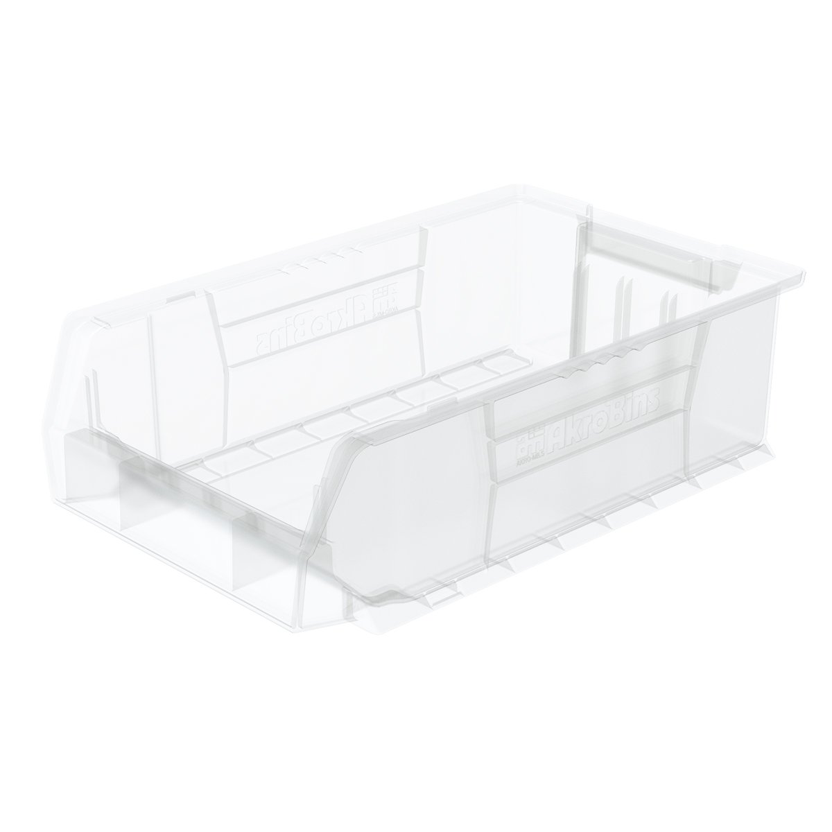 Akro-Mils 30280 20-Inch D by 12-Inch W by 6-Inch H Clear Super Size Plastic Stacking Storage AkroBin, 4-Pack by Akro-Mils