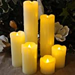 """LED Lytes Timer LED Candles - Slim Set of 6, 2"""" Wide and 2""""- 9"""" Tall, Ivory dripping Wax and Flickering Amber Yellow Flame Battery Operated Electric Candle"""