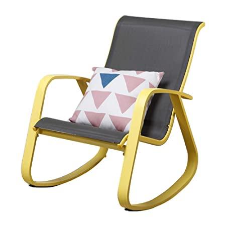 Grand Patio Modern Sling Rocking Chair, Glider with Yellow Aluminum Frame, Inside Furniture Outdoor Porch