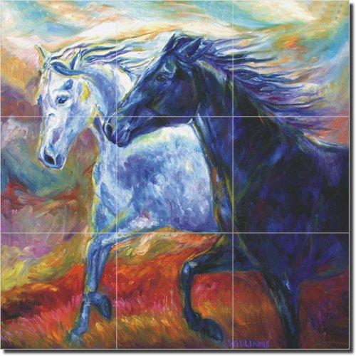 Frolic II by Diane Williams - Horses Equine Ceramic Tile Mural 12.75