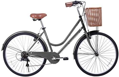 Gama Bikes Women's City Basic Step-Thru 6 Speed Shimano Hybrid Urban Cruiser Commuter Road Bicycle, 26-inch wheels