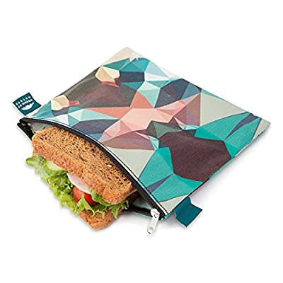 Nordic By Nature 4 Pack - Reusable Sandwich Bags Dishwasher Safe BPA Free - Durable Washable Quick Dry Cloth Baggies -Reusable Snack Bags For Kids School Lunches - Easy Open Zipper - (Mosaic Camo): Kitchen & Dining