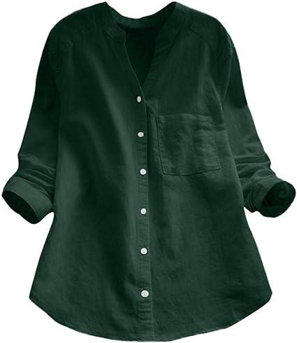 Blusa con Botones SUNNSEAN Mujer Algodón de Lino Camisa de Manga Larga sólida Ocasional Camisa de Manga Larga para Mujer Camisa de Blusa Suelta Casual: Amazon.es: Instrumentos musicales