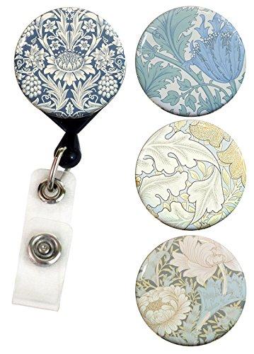 Buttonsmith William Morris Tinker Reel Deluxe Retractable Badge - Nursing Name Badge Holder