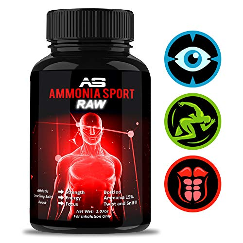 AmmoniaSport Athletic Smelling Salts - RAW - for Advanced Users - Strongest Smelling Salt for Athletes - Ammonia Inhalant Long Lasting Smelling Salt - Alert Supplement - Adrenaline Supplement