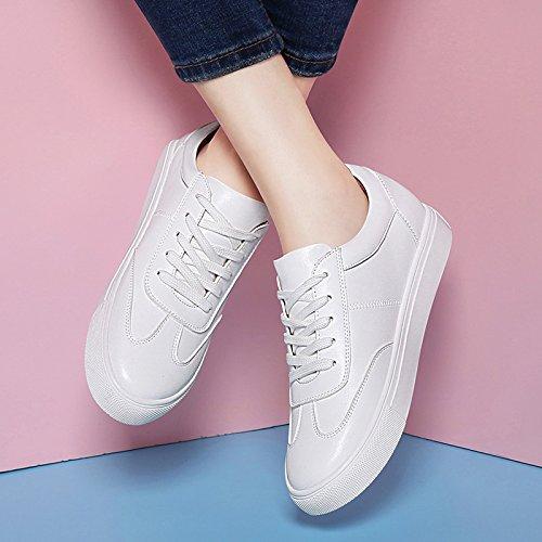 KHSKX-Flat Shoes Spring Zapatos Blancos Corbata Zapatos Todo Partido Coreano Primavera Zapatos Zapatos De Ocio Spring Tide white