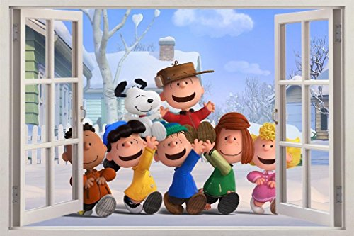 The Peanuts Movie Snoopy Charlie Brown 3D Window Decal Wall Sticker Art H485, Large