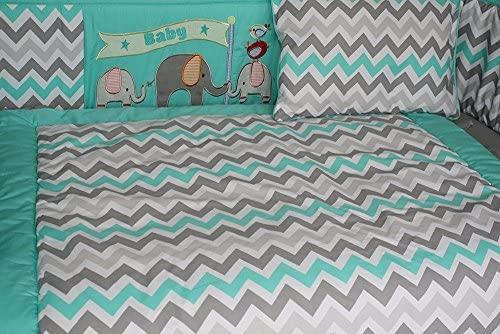 BabyFad Elephant Chevron Turquoise 10 Piece Baby Crib Bedding Set 30047U
