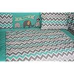 BabyFad-Elephant-Chevron-Turquoise-10-Piece-Baby-Crib-Bedding-Set